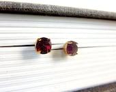 vintage dark red rhinestone stud earrings -SALE-