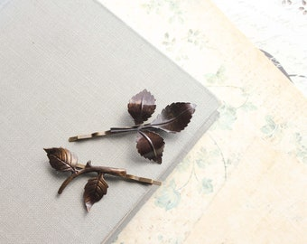 Branch Hair Accessories Leaf Bobby Pins Dark Brown Patina Forest Tree Branch Hair Pin Woodland Wedding Pair of Leaves Blackened Brass