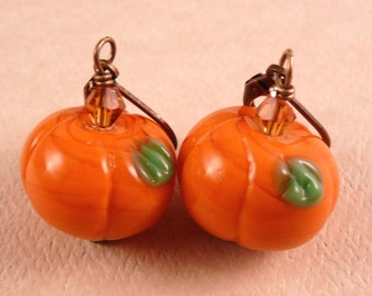 Pumpkin Earrings Fall Jewelry Halloween Jewelry Lampwork Earrings Halloween Earrings Lampwork Jewelry Beaded Jewelry Pumpkin Jewelry