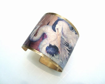 Bird Cuff Bracelet, Great Blue Heron's