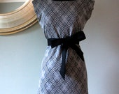 Black and Grey Dress with Argyle print and Black Boat Neck Collar made from Bamboo / Linen Fabric