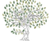 Hand Drawn Loving Tree Wedding Guestbook Alternative Print Personalized By Up To 160 Guest's Fingerprints - 17x22 100% Cotton Art Paper