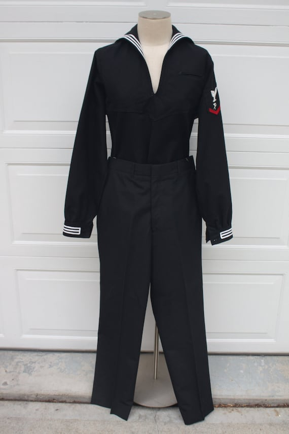 Vintage US Navy Sailor Uniform Navy Blue Cracker Jack Long Sleeves ...