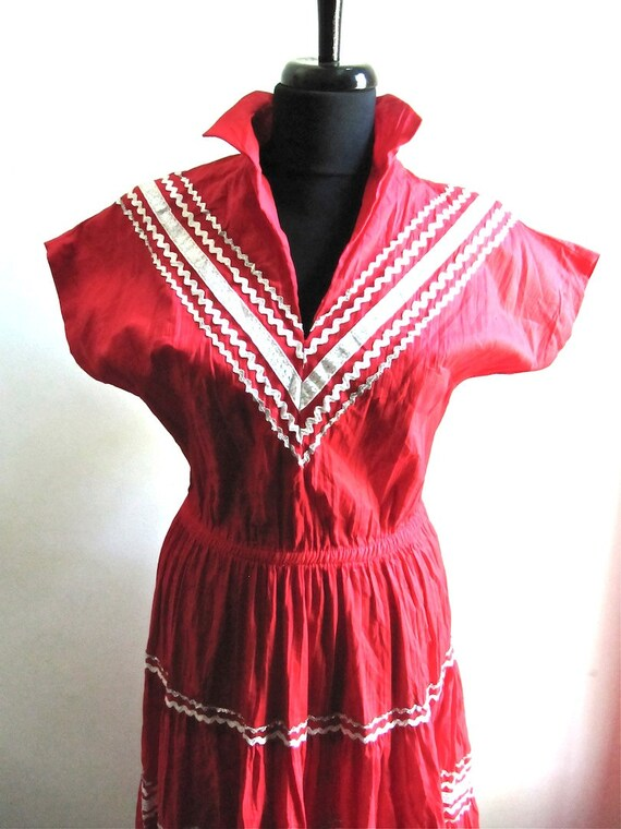 Red Fiesta Dress with White Trim CLEARANCE