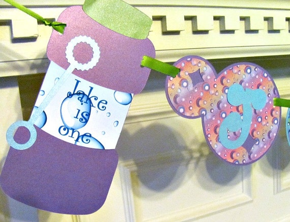 Bubble Birthday Banner with Personalized Name Banner