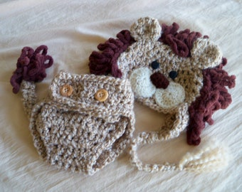 Lion Hat and Cover Set - Lion Hat - Halloween Baby Costume - Lion Hat Set - by JoJosBootique