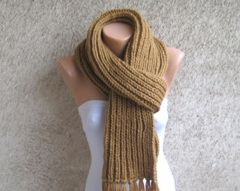 Long Mens Womens Alpaca Scarf, Camel Knit Ribbed Scarf, Thick Double face Wool Shawl, Rib pattern Organic wool Accessory, Christmas Gift