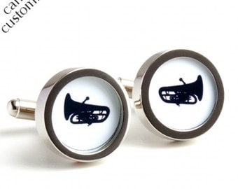 Tuba Cufflinks in Silhouette for Musicians Personalized Music Cufflinks PC397