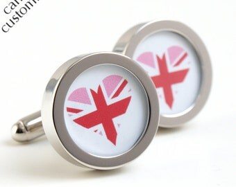Heart Cufflinks for the Groom with a Pink Union Jack Design - Customise with your choice of flag