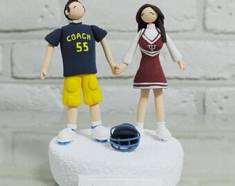 Football player, cheerleader custom wedding cake topper gift
