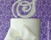 Monogram cake topper - ENTIRELY COVERED Swarovski crystal monogram initial cake topper set- Glitz and Glam 5""