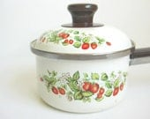 1980s Vintage Strawberries Enamel Sauce Pot Pan