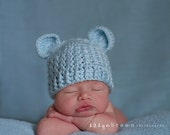 Crochet Baby Bear Beanie Hat - Newborn to 12 months - Soft Blue - MADE TO ORDER