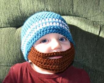 Crochet Baby Boy Beanie with Beard Hat - 3 months to 10 years - Ocean and White with Chocolate Beard - MADE TO ORDER