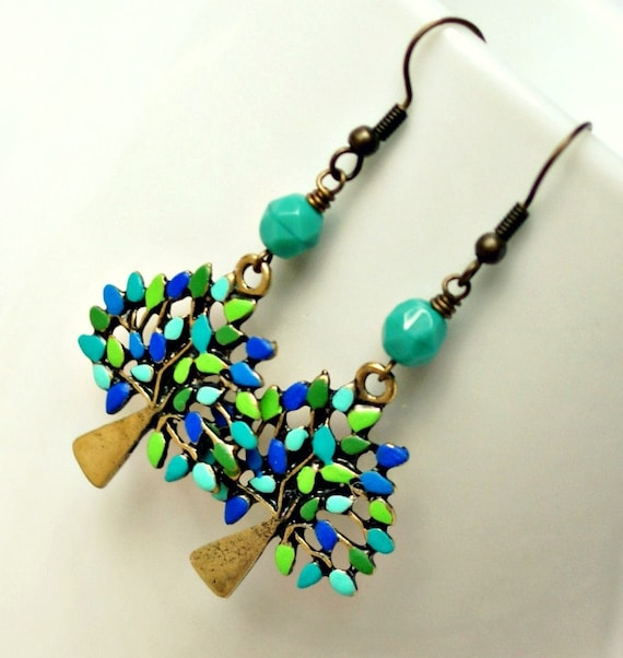 colorful tree beaded drop earrings