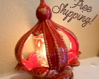 Red Crown Ceramic Accent Lamp- Night Light - Home Decor
