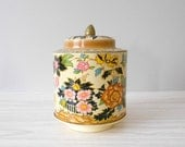 Gold Regal Crown Flower Metal Tin with Raised Pictures and Lid with Knob