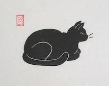 Contentment - Black Cat Lino Block Print