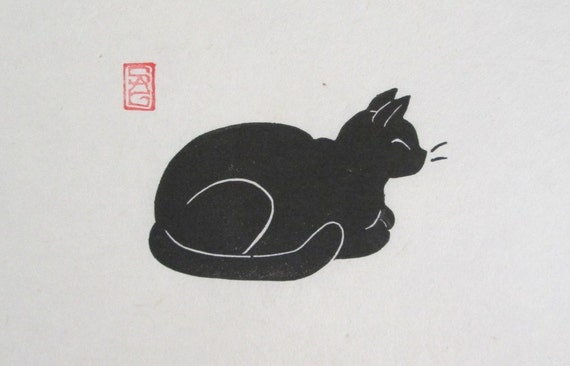 Contentment - Black Cat Lino Block Print