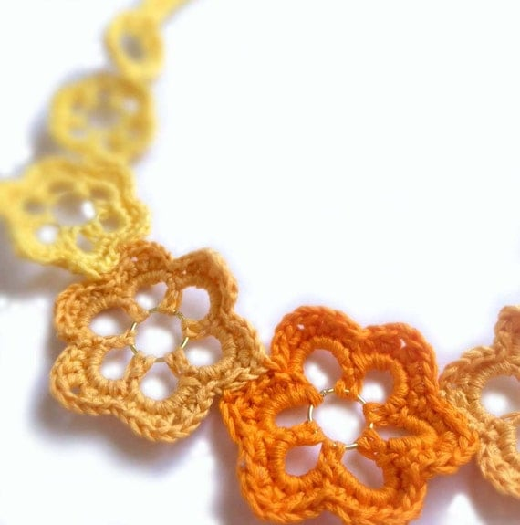 Crochet Flowers Choker in Yellow, Orange and Gold, One of a Kind, Handmade
