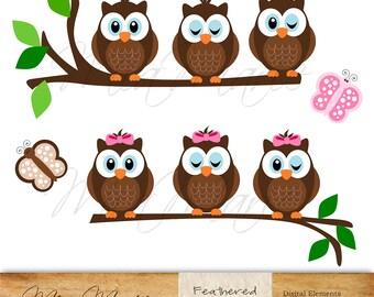 INSTANT DOWNLOAD - Digital Clip Art - Owl Clipart, Owl Clip Art, Butterfly Clipart, Butterfly Clip Art, Bird Clipart,  Bird Clip Art, branch
