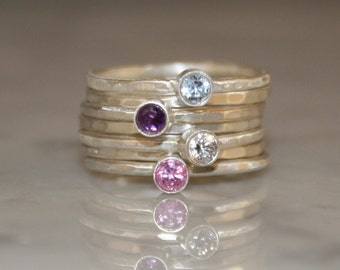 4 Gemstones, Birthstone stacking rings, Mothers and Family rings, 7 skinny rings, Argentium sterling silver, Custom made