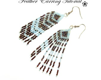 PDF beading tutorial pattern - Feather earrings