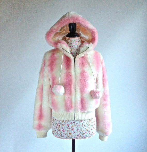 Fake Cotton Candy: 90's Cotton Candy Rave Faux Fur Cropped Vintage Hooded