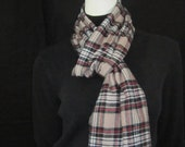Fleece scarf in plaid black, red and light brown