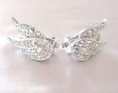 Vintage Sarah Coventry Wing Earrings, Aurora Borealis Rhinestone 1950s, Bird of Paradise