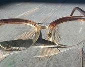 Vintage Browline Eye Glasses - Brown with Rhinestones - Shuron Nusir Royall