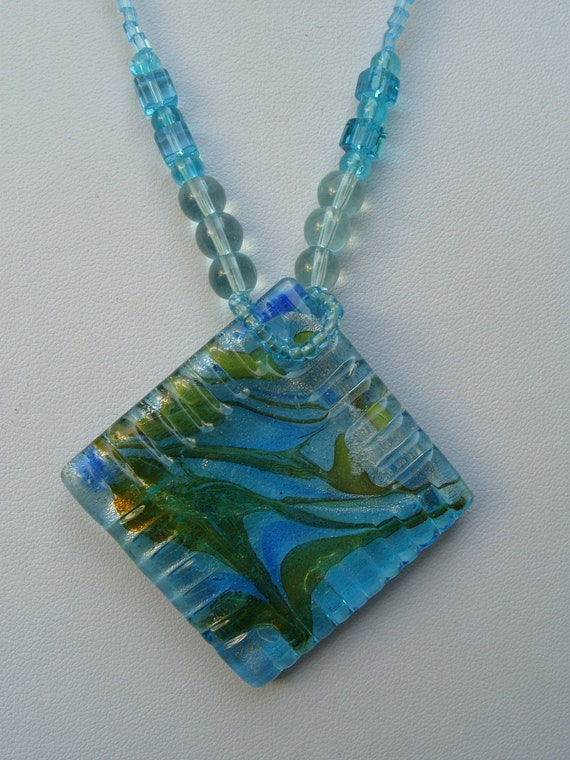 Blue large square pendant necklace, blue glass pendant necklace, beaded jewelery