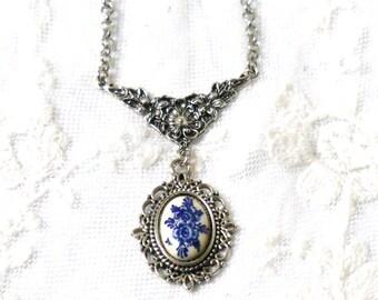Delft blue pendant necklace Delft blue jewelry Delft  delft blue necklace silver pendant necklace delft blue cabochon
