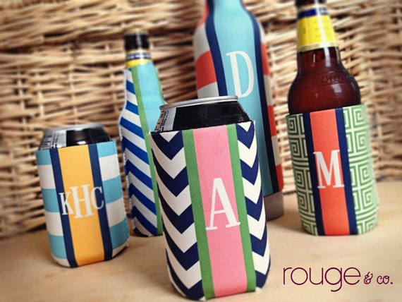 monogrammed monogrammed can coolie, personalized coolie, beer coolie, bottle coolie - weddings, bachelorette, birthday, beach, patio, pool