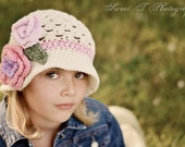 Girl Sunhat Bucket StyleBeach Beanie crocheted hat Soft Ecru with Lavender, Soft Pink, Sage, and Pink. Summer Spring, and Fall Hat