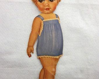 13 Inches Tall, Vintage Winkie Paper Doll Cut-Out, Fluttering Eyelashes, Kewpie, Cardboard, Paper Ephemera