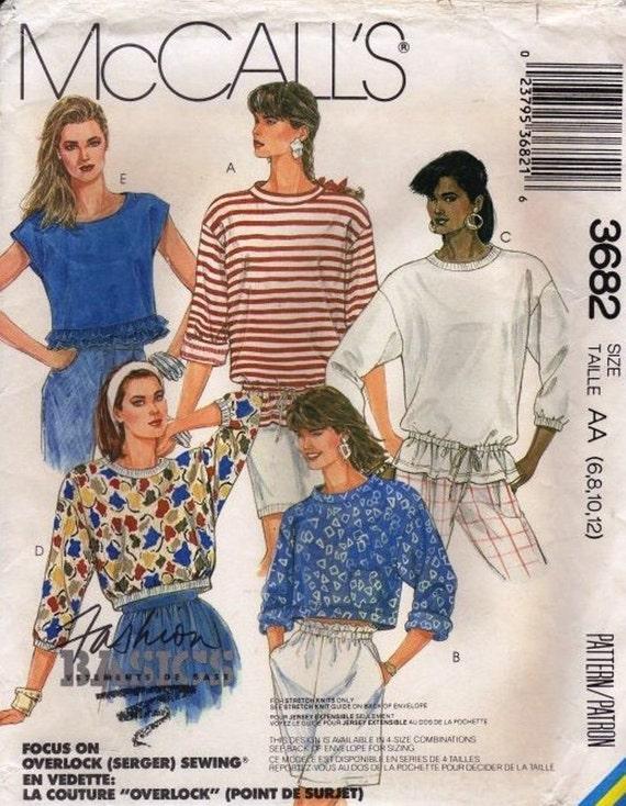 McCalls 3682 Stretch Knit Top  Sewing Pattern Uncut