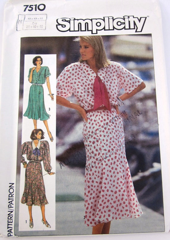 Simplicity 7510 Womens 80s Flutter Sleeve Dress with Flared Skirt Sewing Pattern Bust 32 to 36