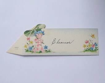 Vintage Gibson place card flower pixie with leaf umbrella perfect for little girl baby shower
