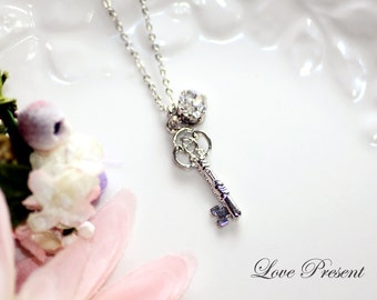 Valentines's day gift - Open your heart Victorian Sliver Key Necklace with Sparkly Swarovski Crystal - Choose your color