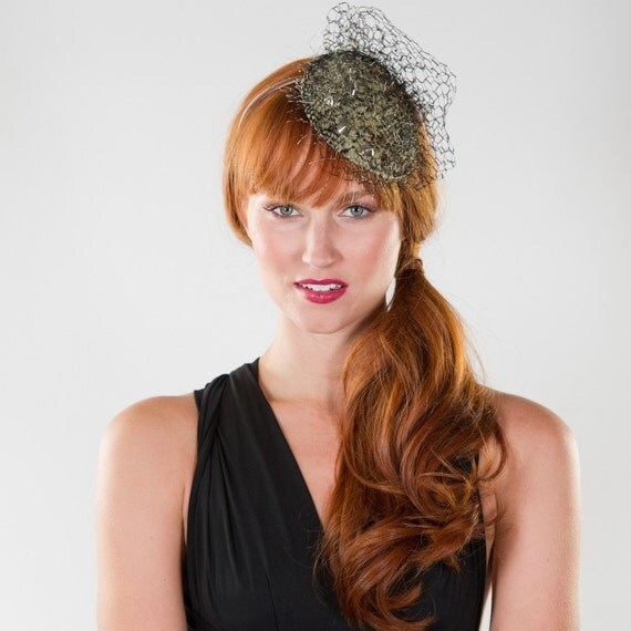 Fascinator, Headband, Gold Studs, Snake Skin, Print, Fabric, Cocktail Headpiece with Bridcage Veil, SALE