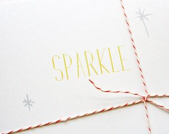 Holiday Cards -- Sparkle -- Set of 10 Christmas / Hanukkah / Holiday / New Years / Celebration Cards & Envelopes