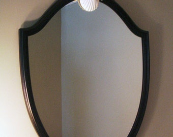Black & White Seaside Elegance SeaShell1940's Shield Mirror, with Swarovski Crystals for Seaside Home or Office