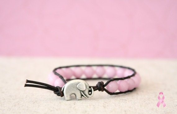 wearPINK Breast Cancer Awareness Beaded Leather Wrap Bracelet - Single Wrap Pink Jade with Good Luck Elephant Button Closure