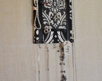 ULTIMATE JEWELRY ORGANIZER- Small- Jewelry Display- Black and White Damask 8x10 inches,15 Large Hooks, This Item Will Not Ship Until Feb 1st