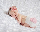 Valentine's Day Heart Butt Diaper Cover in White and Baby Pink 0-3 Month Size- READY TO SHIP
