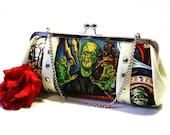 Monster Movie Clutch - Vinyl Bag - Sparkle Clutch - Halloween Purse - Frankenstein Clutch - Rockabilly Bag - MADE TO ORDER