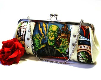 Monster Movie Clutch - Vinyl Bag - Sparkle Clutch - Halloween Purse - Frankenstein Clutch - Rockabilly Bag - MADE TO ORDER