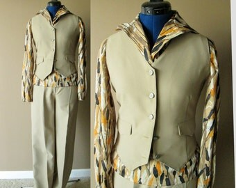 Vintage Three-piece tan ladies vest suit with horse jumping buttons, small, bust 34, waist 26