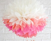 party decoration ... JUMBO pink ombre ... 1 Tissue paper pom //weddings // nursery // baby shower // birthday party // gender reveal //